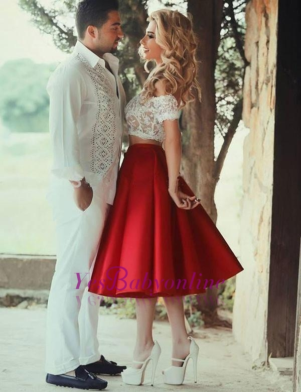Two Piece Homecoming Dress, White Lace Off the Shoulder Prom Dresses
