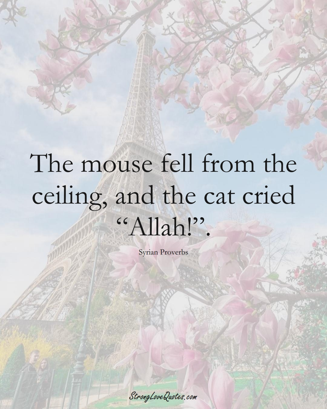 """The mouse fell from the ceiling, and the cat cried """"Allah!"""". (Syrian Sayings);  #MiddleEasternSayings"""
