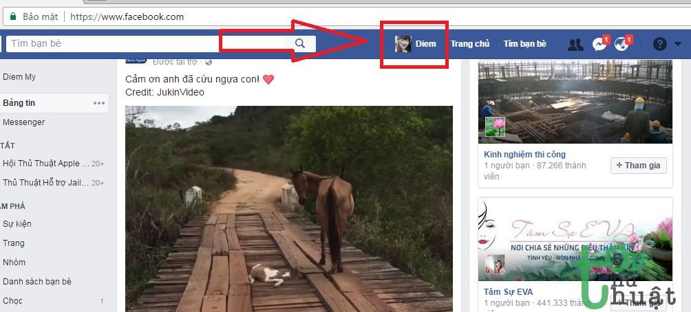 Vào trang cá nhân Facebook