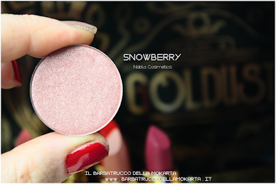 SNOWBERRY recensione eyeshadow ombretto  goldust collection Nabla cosmetics