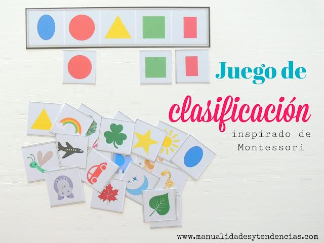 Actividad clasificación imágenes Montessori en casa