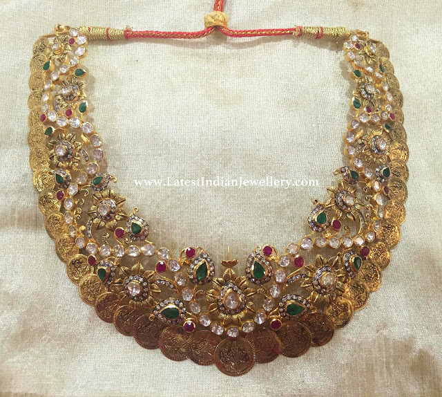 Different Pachi Work Kasu Necklace