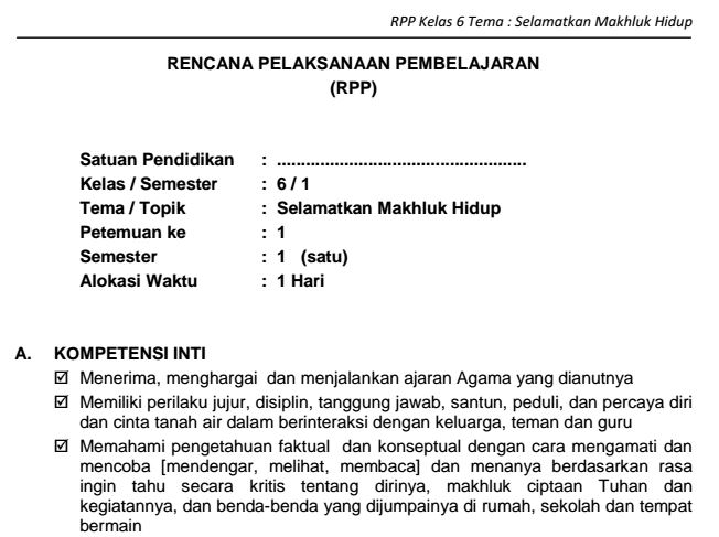 Download Lengkap RPP SD Kelas VI Semester 1 Tema Selamatkan Makhluk Hidup Kurikulum 2013 Format PDF