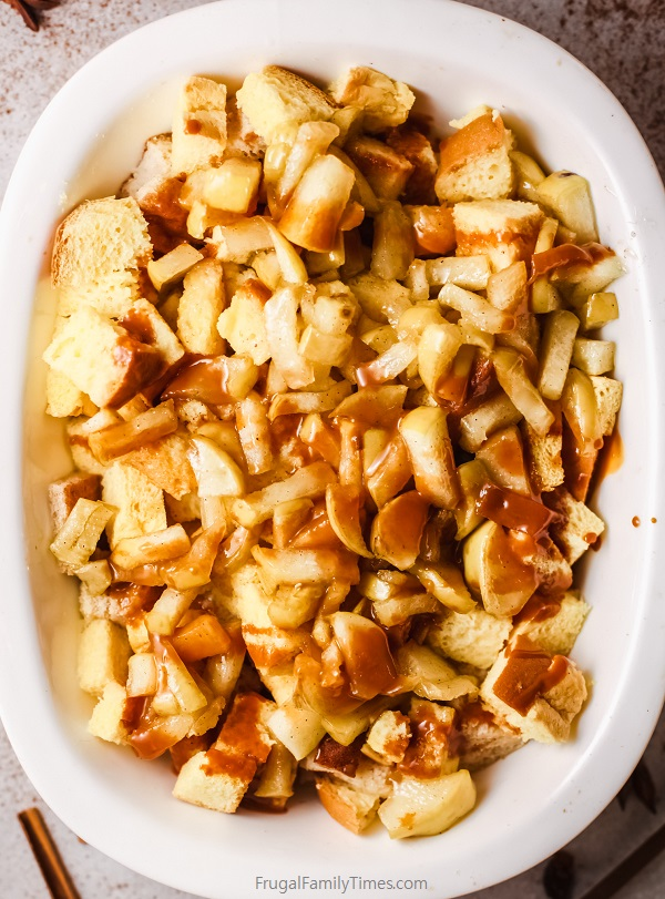 make ahead caramel apple french toast casserole