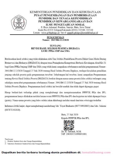 Download Hasil Seleksi Peserta DIGDAYA PPKn SMP dan SMA Tahun 2020 PDF tomatalikuang.com