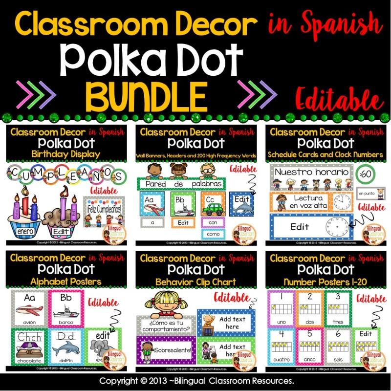 Classroom Decor in Spanish l Editable l BUNDLE l Polka Dot