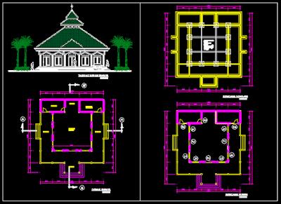 autocad masjid minimalis