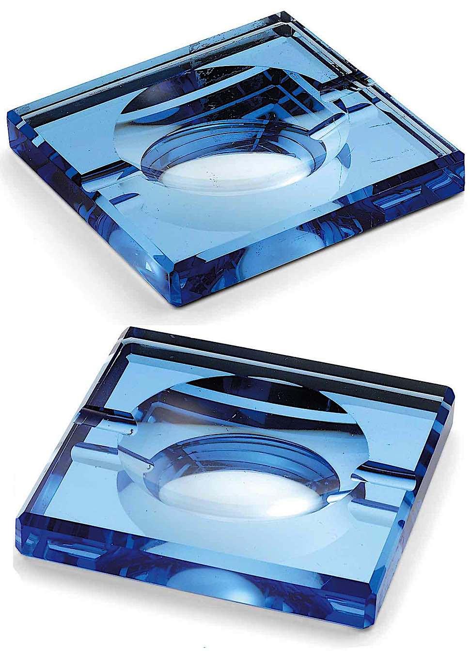 1930 blue glass Saint Gobain glass ashtrays