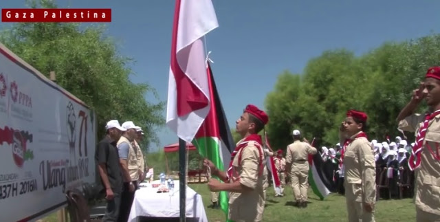 Merinding! VIDEO: Rakyat Palestina Kibarkan Bendera Merah Putih Diiringi Lagu Indonesia Raya