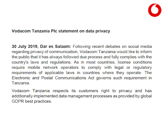 VODACOM STATEMENT ON DATA PRIVACY