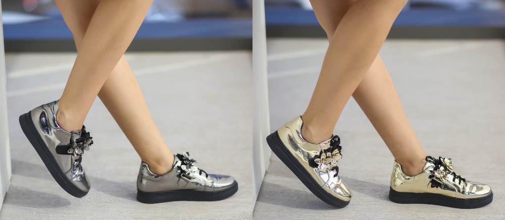 Pantofi casual dama aurii / argintii piele lacuita ieftini 2017
