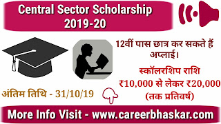 Central Sector Scholarship 2019-20, Central Sector Scholarship Details, Central Sector Scholarship for Students, Scholarship details of Central Sector Scholarship, Details of Central Sector Scholarship, Central Sector Scholarship 2019-20 in Hindi.
