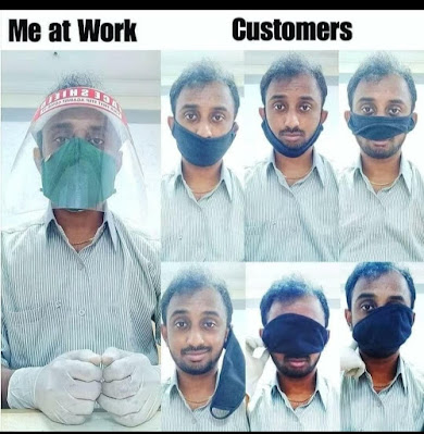 Shopworker Devi Prasad Rao in his shop PPE and 6 images of him wearing a mask in variois wrong positions on his head