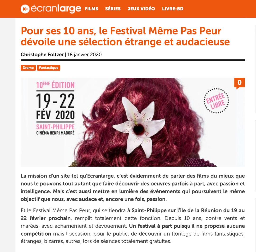 La Sélection Officielle de la 10ème édition du Festival MEME PAS PEUR sur Écran Large
