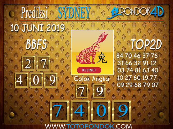 Prediksi Togel SYDNEY PONDOK4D 10 JUNI 2019
