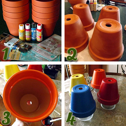 The first four steps in painting terra cotta pots