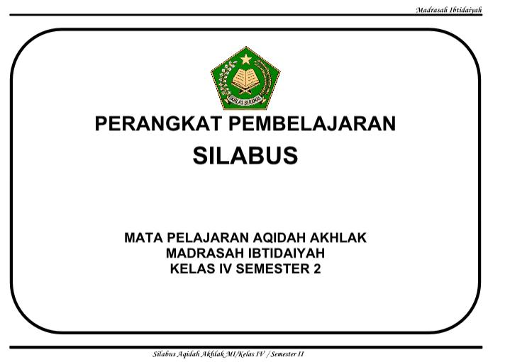 Silabus Aqidah Akhlak Kls 4 Mi Semester 1 Dan 2 Kurikulum 2013 Perangkat Ajar Guru