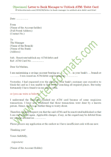 sample request letter to bank manager to unblock atm card