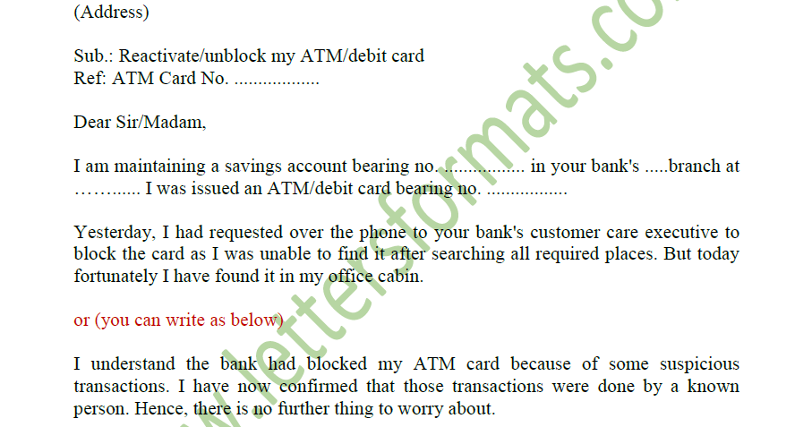 how write a letter to bank manager for blocked atm card
