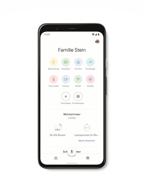 Screenshot der Google Home App zur Steuerung der Geräte