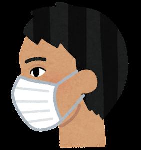 マスクを付けた人の横顔のイラスト(東南アジア人男性)