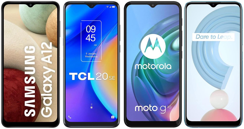 Samsung Galaxy A12 vs TCL 20 SE vs Motorola Moto G10 vs Realme C21