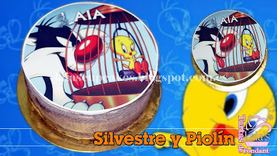 tarta personalizada fondant impresión comestible piolín silvestre lindo gatito laia's cupcakes puerto sagunto