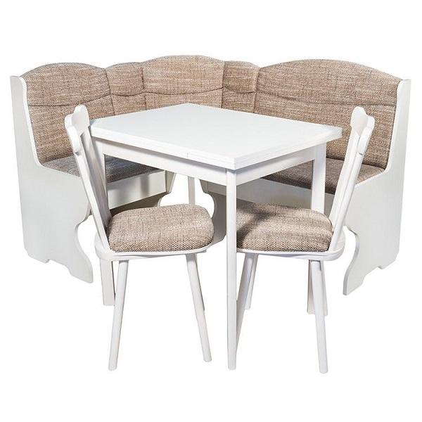 Комплект мебели за кухня Elvila Parma, Кухненски ъгъл + Разтегателна маса + 2 стола