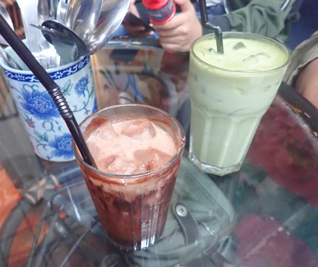 ice chocolate, iced organic matcha latte merchant's lane