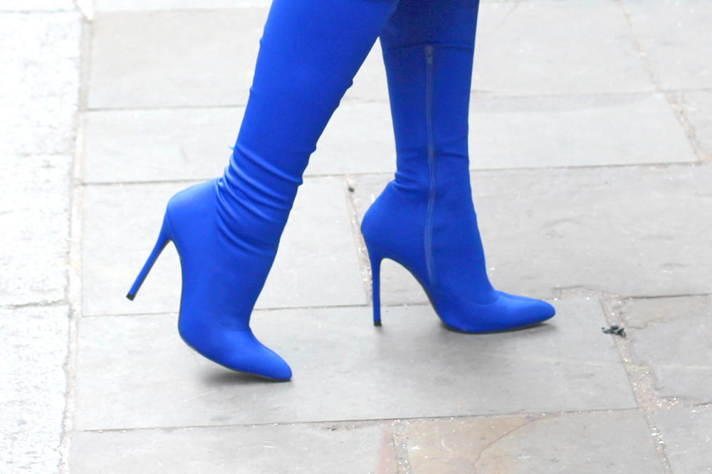 Emma Louise Layla in cobalt blue thigh high boots - London style blogger