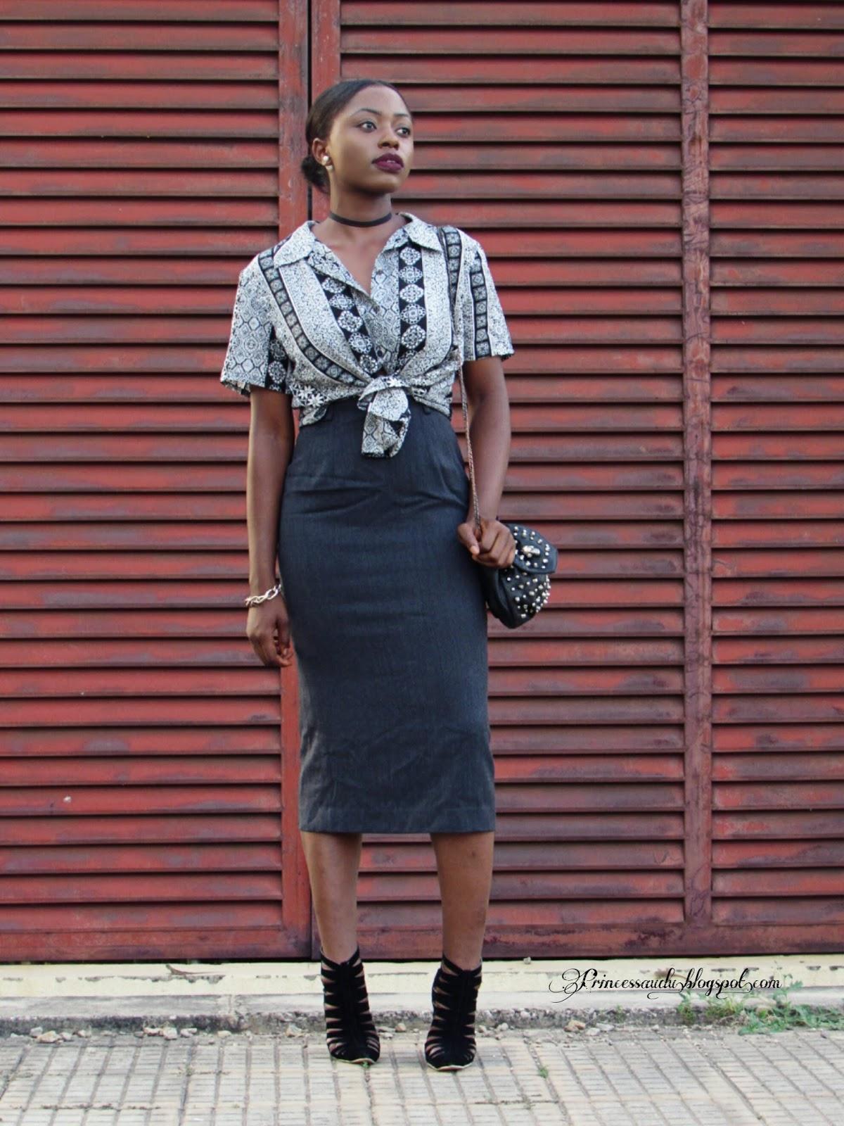 Grey pencil skirt,  prints,  Aztec,  retro, choker trend, neutrals
