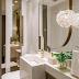 Lavabo pequeno branco e dourado com decor contemporâneo e sofisticado!