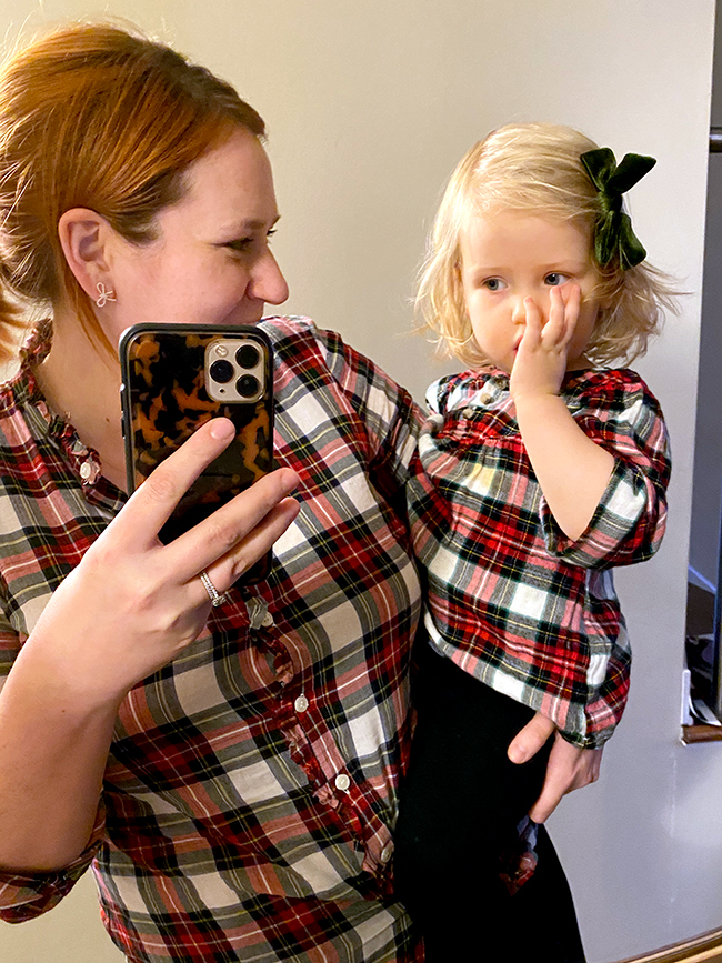 I love matching my toddler daughter for the holidays. Matching plaid outfits are so fun to wear!