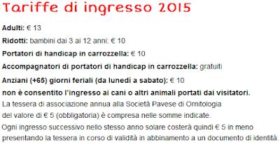 Tariffe Oasi di Sant'Alessio