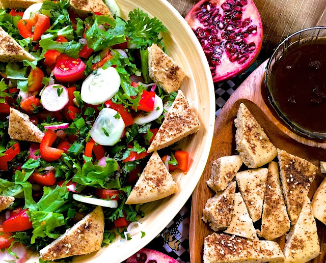 Fattoush With Za'atar, Sumac and Pomegranate Molasses Recipe (Traditional Lebanese Salad)