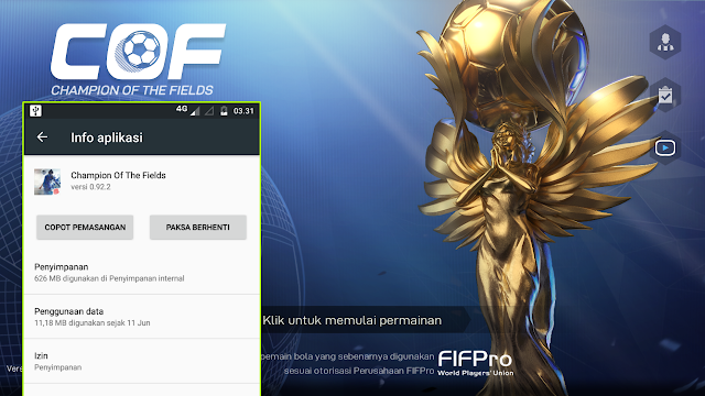 Total Size game Android COF (Champion of The Fileds) Bisa Edit Kostum