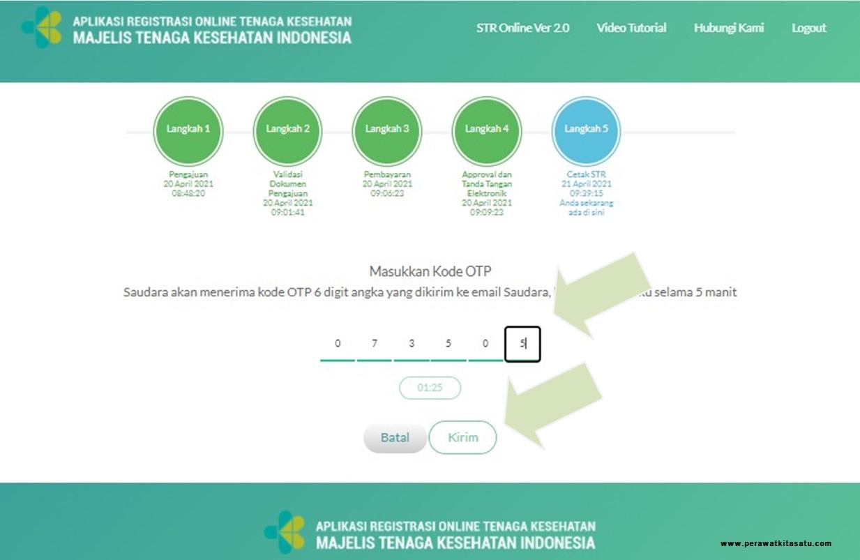 Masukan  kode  OTP  yang  didapatkan  melalui  email STR