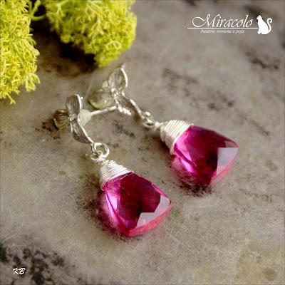 Miracolo, kwarc różowy, kwarc piramidka, kolczyki z kwarcem, pink quartz pyramids, pink quartz earrings
