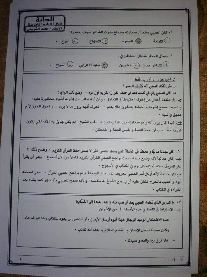 نموذج امتحان اللغة العربية للثانوية العامة 2020 4
