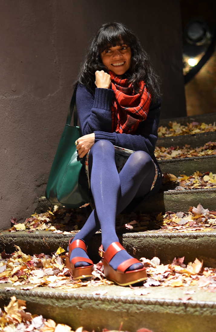 Sandals with tights outfit