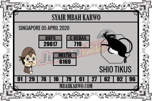Prediksi Togel Singapura Minggu 05 April 2020 - Syair Mbah Karwo