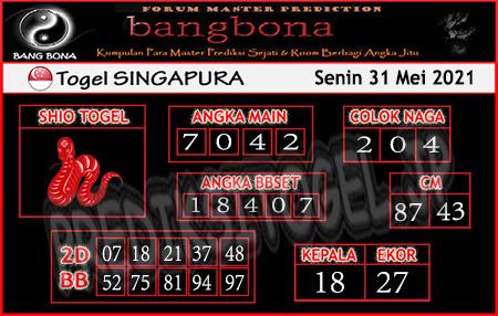Prediksi Bangbona Togel Singapura Senin 31 Mei 2021