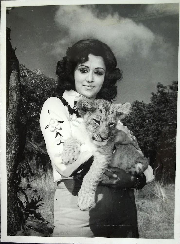 Hema Malini with a Lion Cub