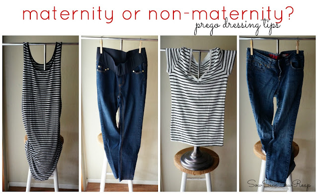 maternity and non maternity during pregnancy, prego dressing tips