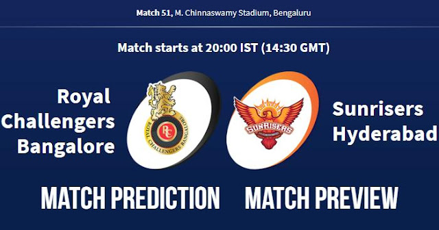 IPL 2018 Match 51 RCB vs SRH Match Prediction, Preview, Head to Head, Who Will Win