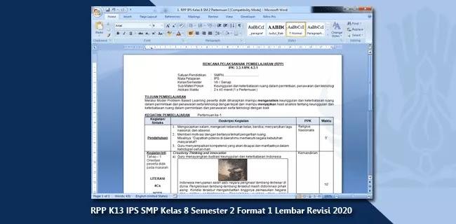 RPP K13 IPS Kelas 8 Semester 2 Format 1 Lembar Revisi 2020