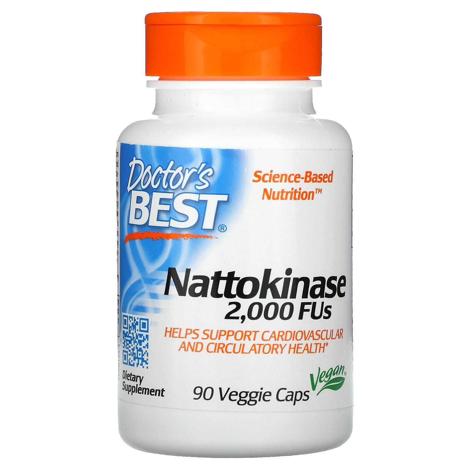 Doctor's Best, наттокиназа, 2000 FU, 90 вегетарианских капсул