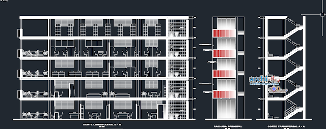 Office building for life insurance company 4 storeys in AutoCAD