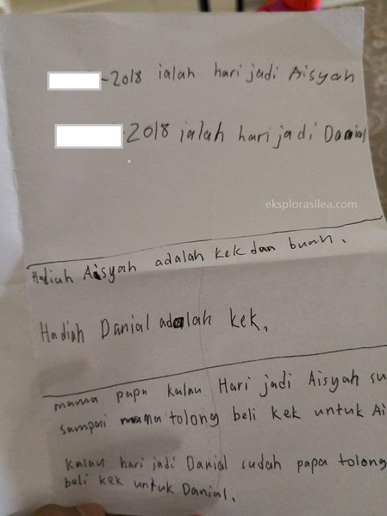 surat untuk ibubapa