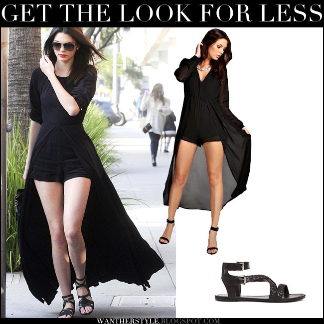 edc8791ddd6 kendall jenner look for less black playsuit and black sandals want her style
